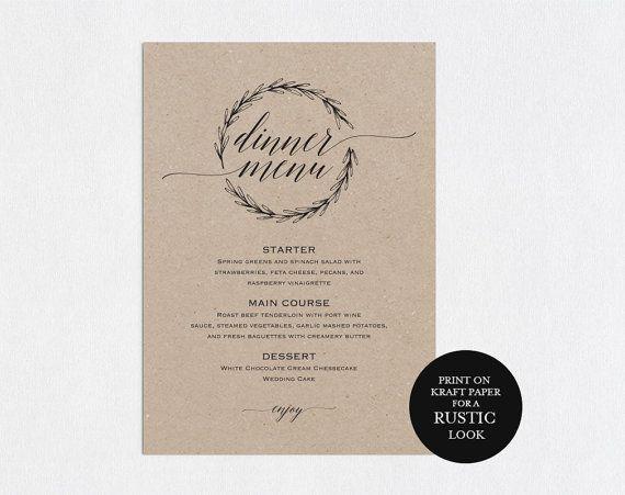 wedding menu template wedding dinner menu rustic wedding menu