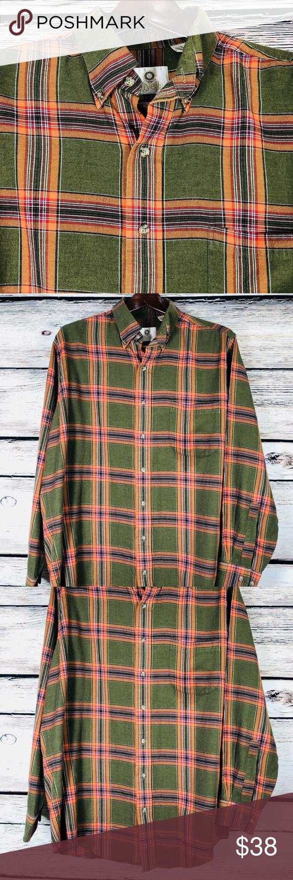Orange flannel jacket  Viyella Flannel Shirt Green Orange Plaid Large  My Posh Closet