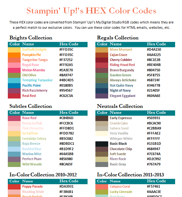 HEX COLOR CODES FILE SHARE    | Color Combo Ideas | Hex