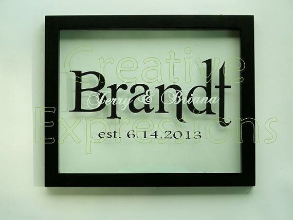 $45.00 personalized floating frame with names and established date