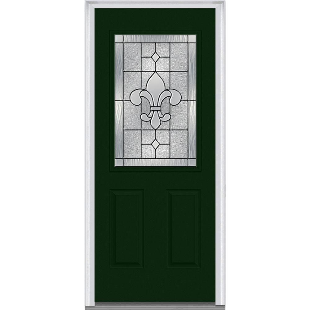 Ordinaire Milliken Millwork 32 In. X 80 In. Carrollton Decorative Glass 1/2 Lite  Painted Fiberglass Smooth Prehung Front Door, Rock Garden