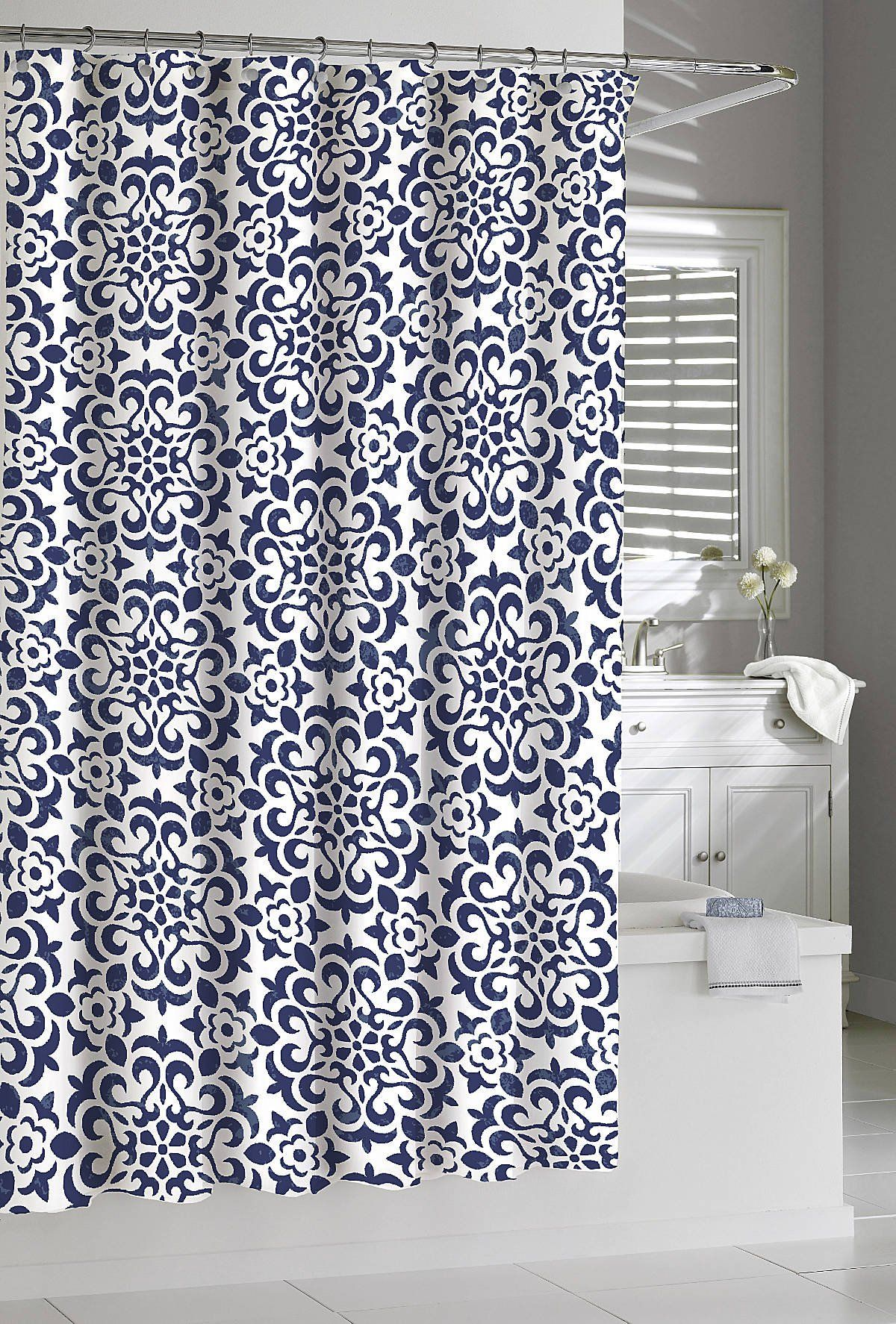 Amazoncom Shower Curtain Kassatex Navy White Seawave Medallion