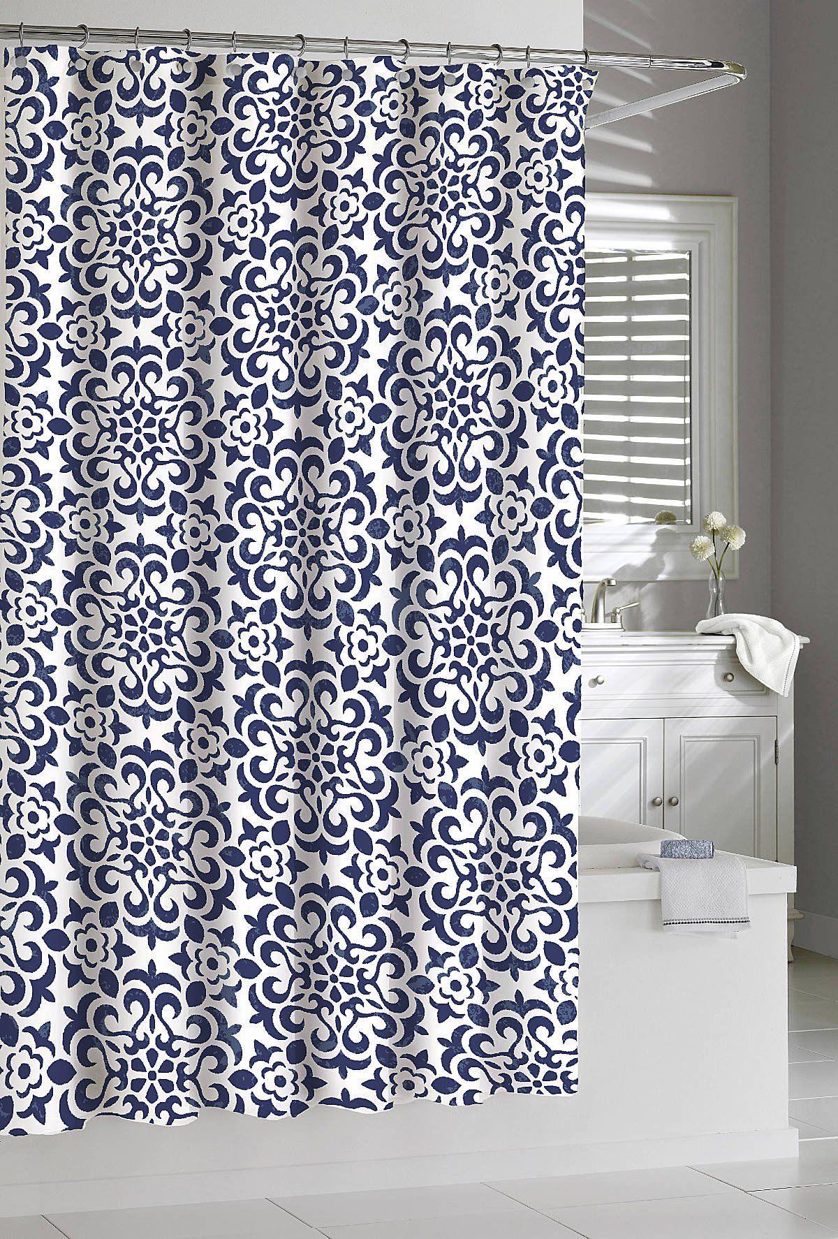 shower curtain kassatex navy white seawave medallion dark indigo 72 x 72 cotton. Black Bedroom Furniture Sets. Home Design Ideas