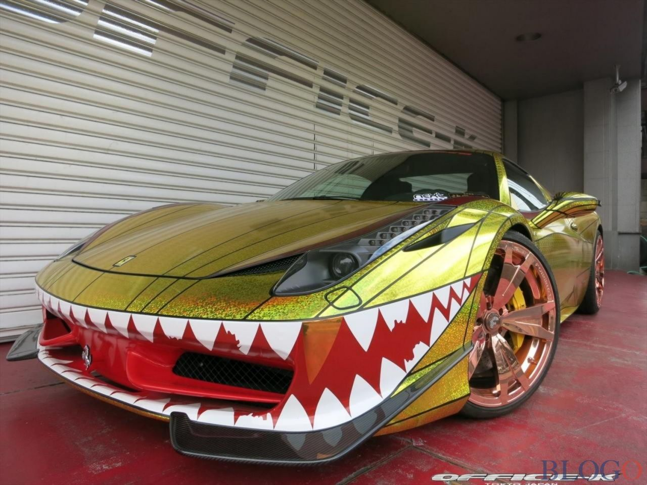 See The Latest 2015 Office K Ferrari 458 Spider Golden Shark Images With  VeePix Vehicle Image Galleries