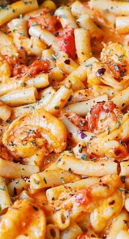Spicy Shrimp Pasta in Garlic Tomato Cream Sauce