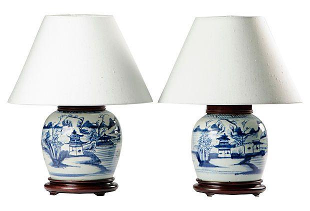 Antique Ginger Jar Lamps Pair, Blue And White Ginger Jar Lamps Uk