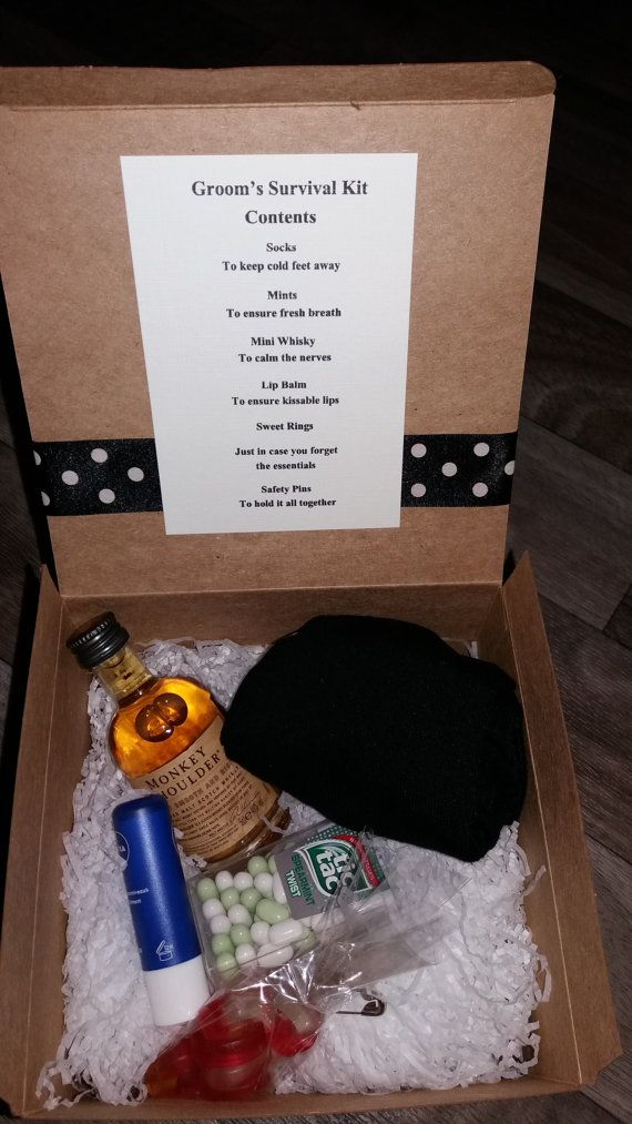 A quirky gift for the groom on his wedding day, a grooms survival ...
