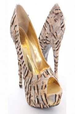Feathered animal print peep-toed pump.
