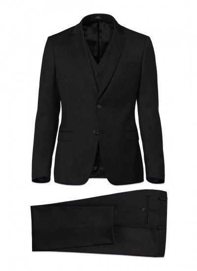 3-piece slim fit suit - iTravel wool - Black