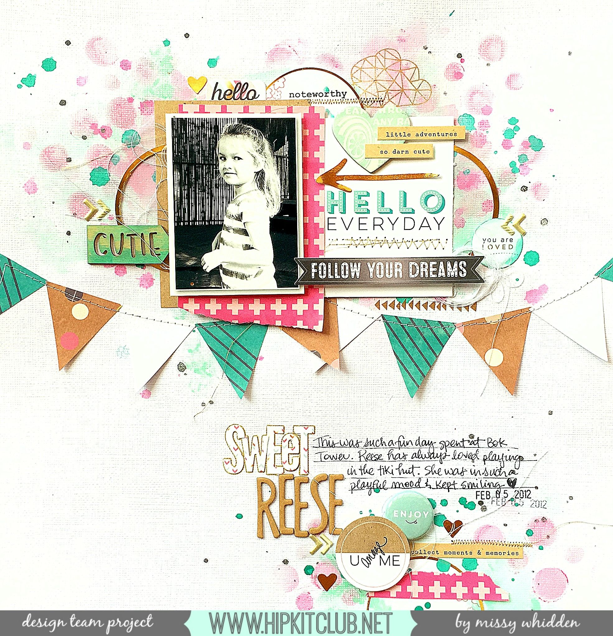 Hip Kit Club DT Project - by Missy Whidden - 2015 March Hip Kits - Crate Paper, American Crafts, Pinkfresh Studio, Elle's Studio, Webster's Pages, Dylusions, Tim Holtz Distress Paint, exclusive die cuts.