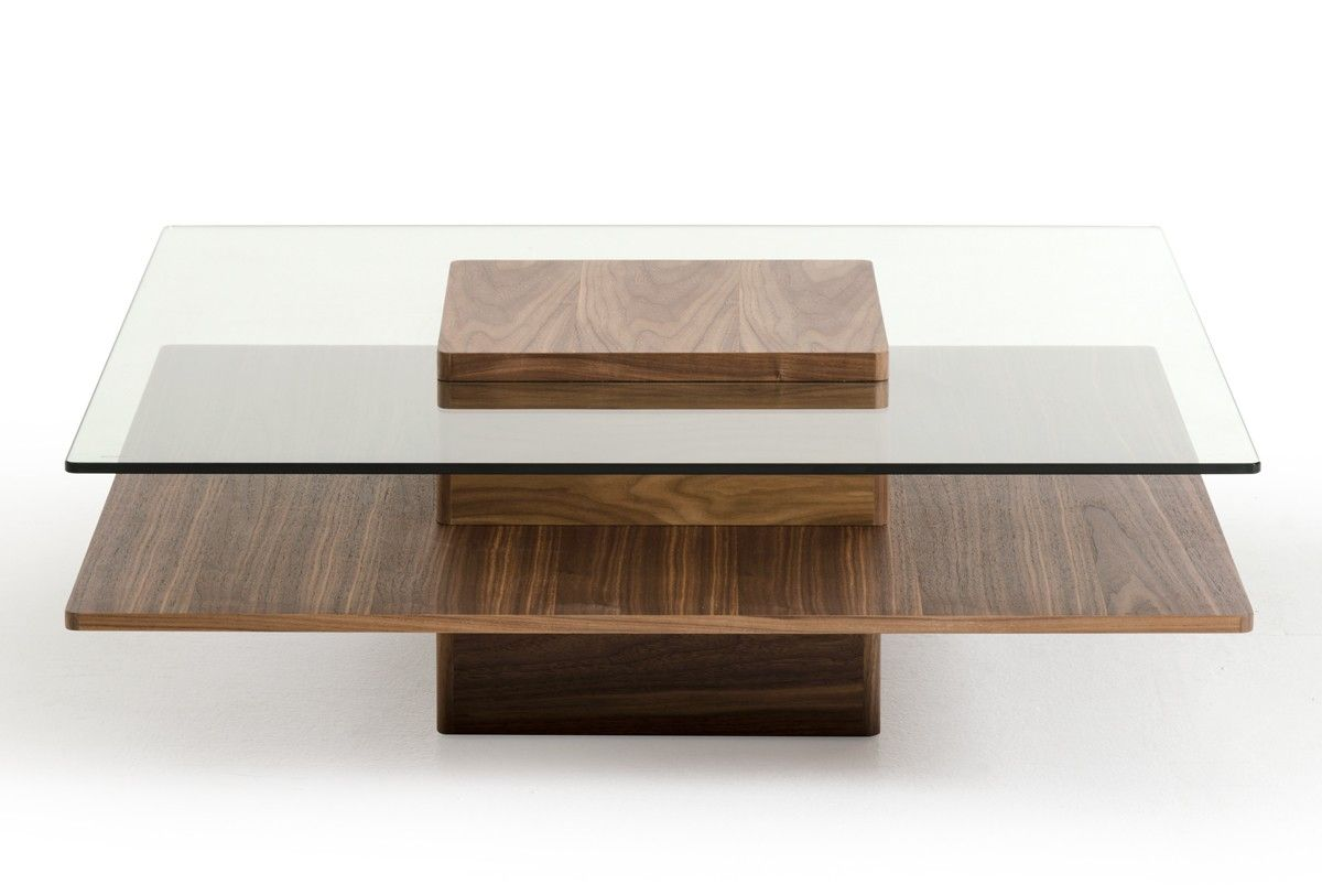 Modrest Clarion Mid Century Walnut And Glass Coffee Table