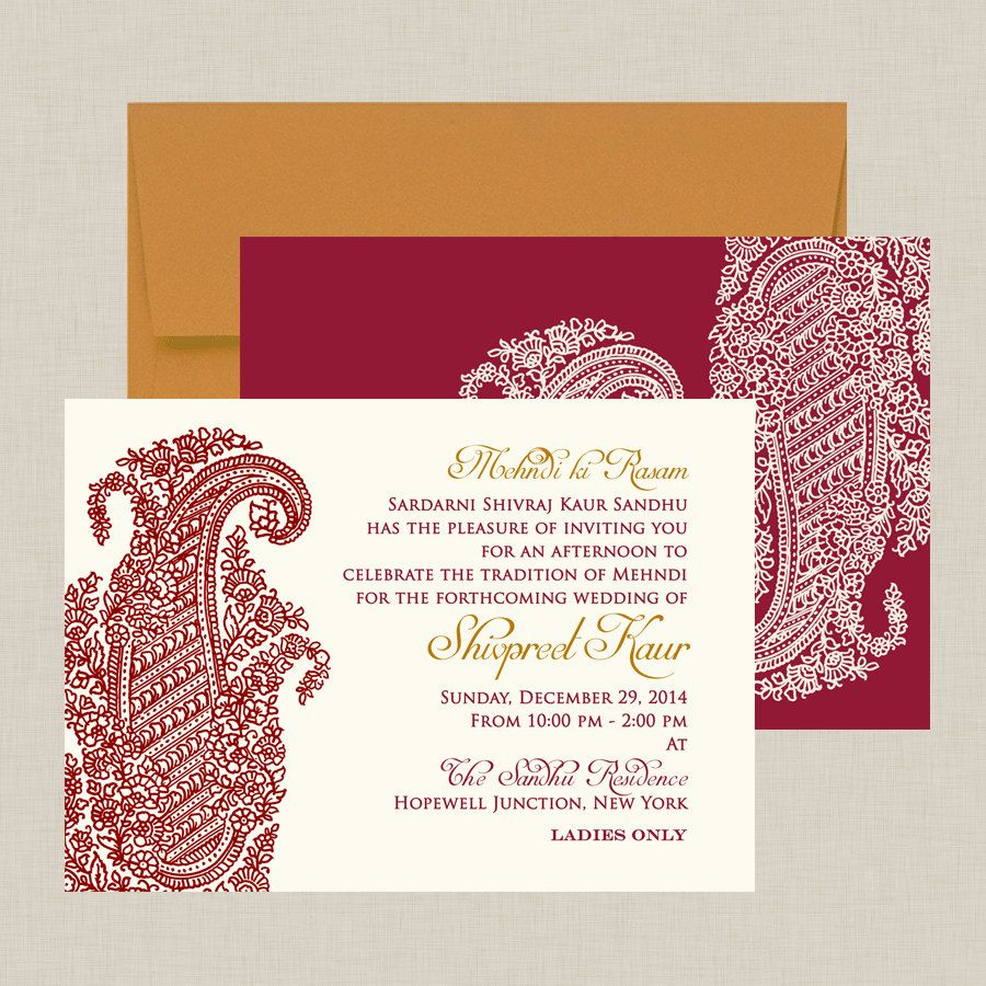 Indian Wedding Invitation Ornate Paisley by InvitationShop, $1.55 ...