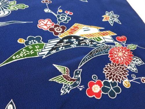 Japanese vintage kimono silk fabric Bingata Style Houses