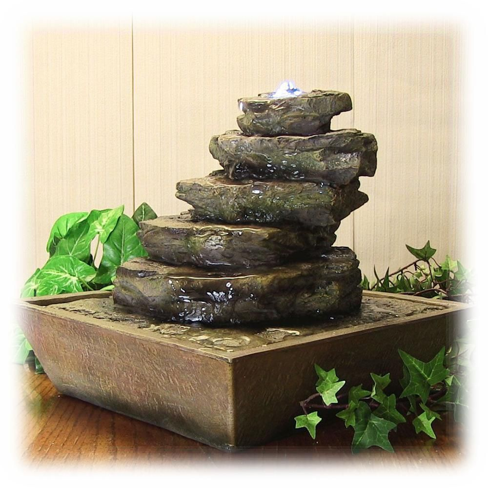 Tiered Stacked Faux Stone Lighted 12 Inch