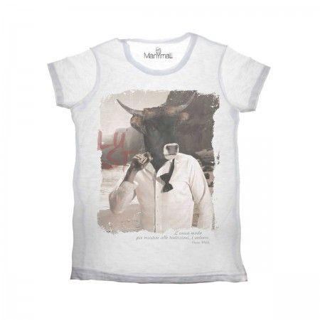 Lacrom - Manymal - Bull T-shirt Man slab cotton t-shirt with frontal print.