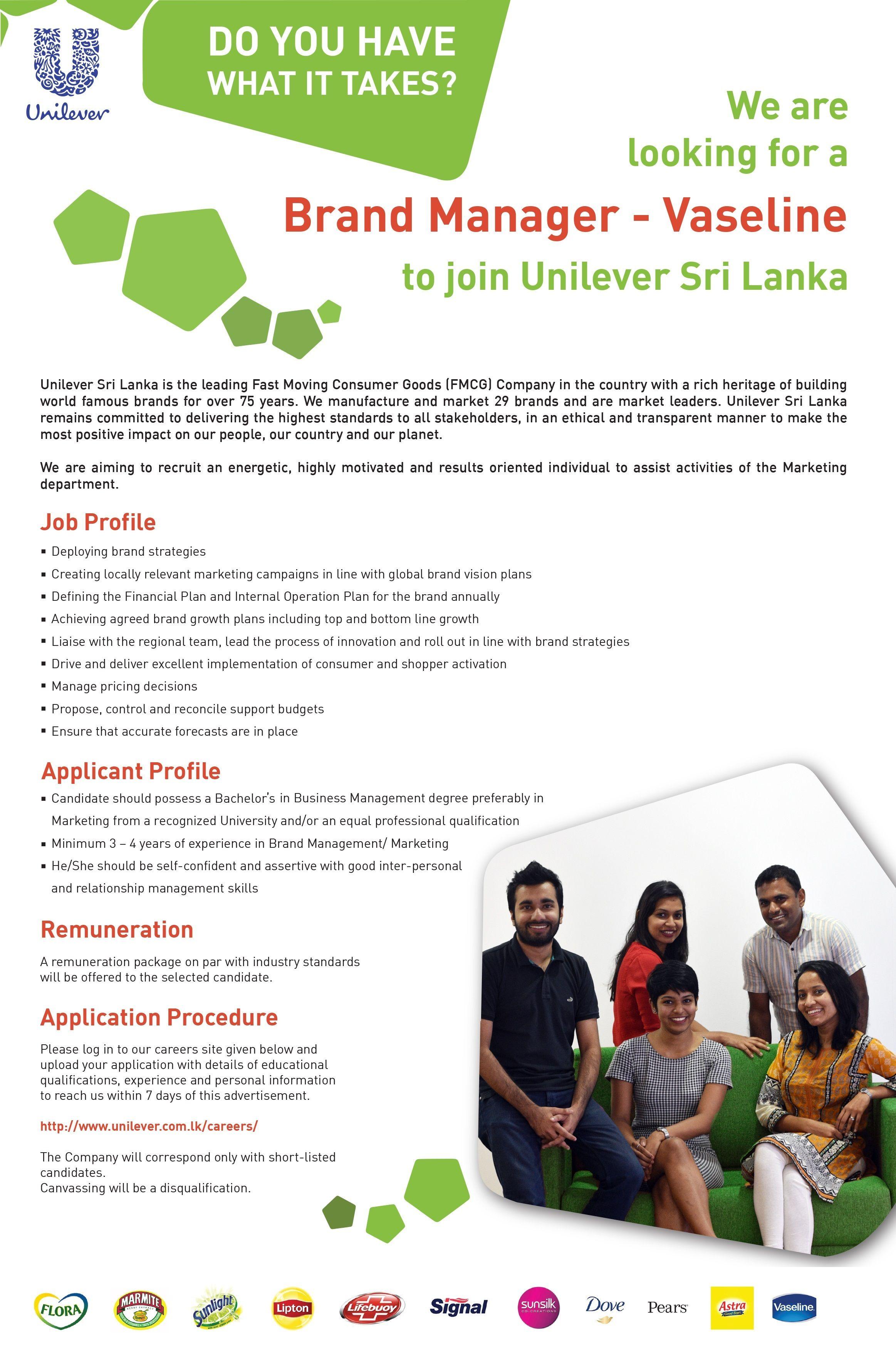 Brand Manager At Unilever Sri Lanka Ltd  Career First