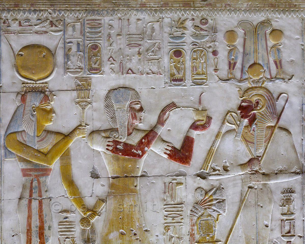 Egypt uuraeuses decorating a shrine at abydosu pinterest