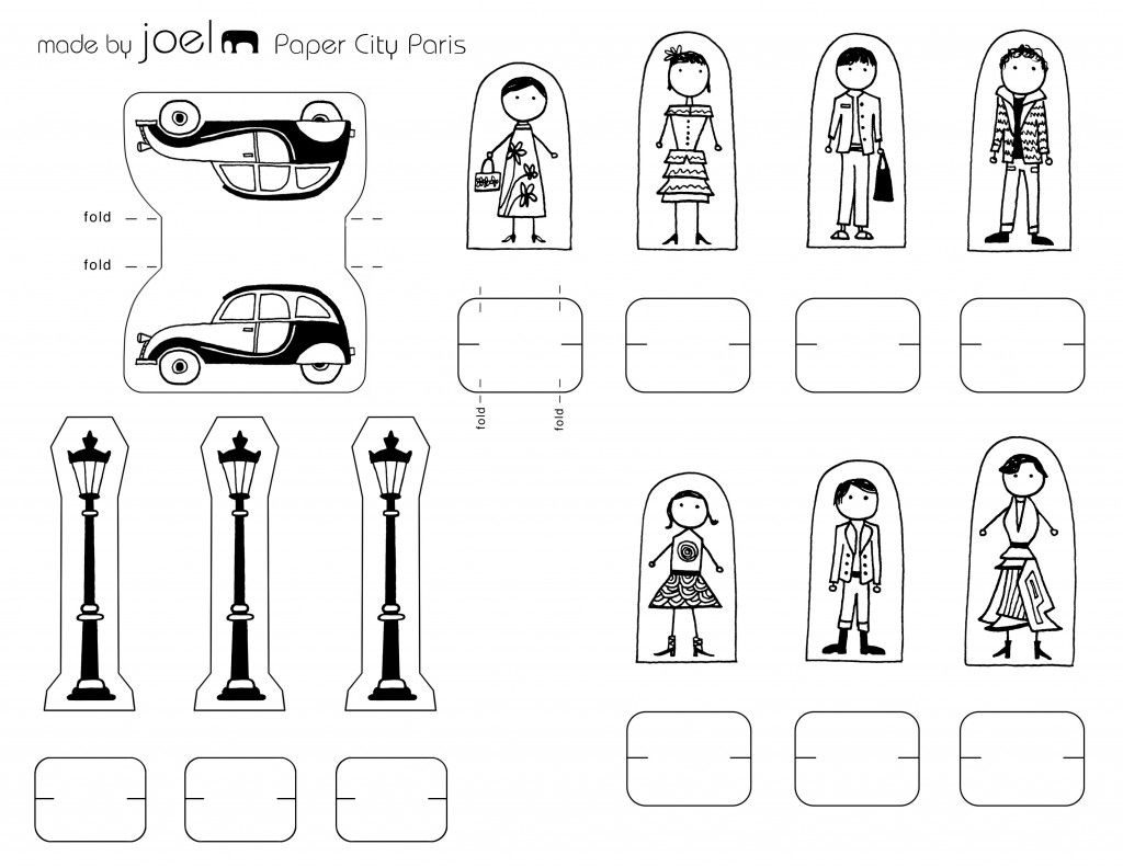 Made by Joel Paper City Paris People Citrone Car and Light Posts ...