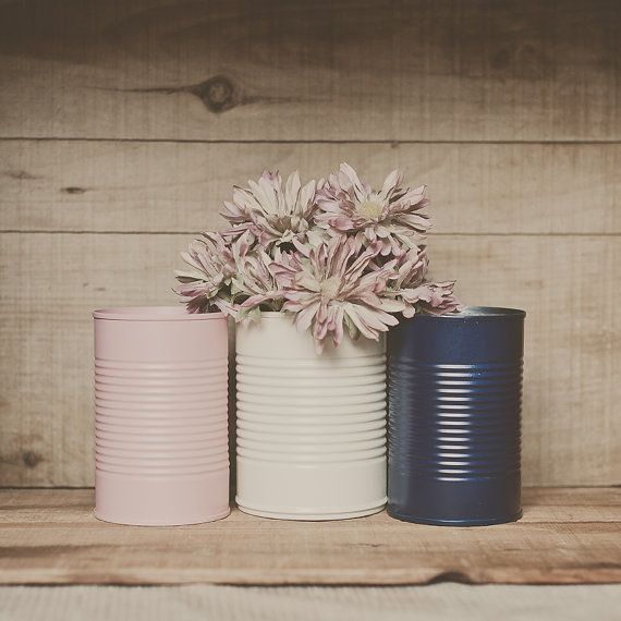 3 Painted Tin Cans Pink And Navy Blue Blush Wedding Centerpiece
