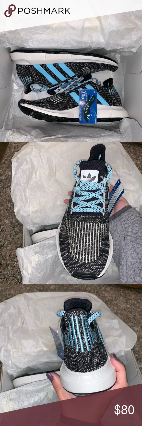 503d7afb778ac Mi Adidas Swift run- icy blue Mi adidas swift run tennis shoes with icy blue  details! Never been worn