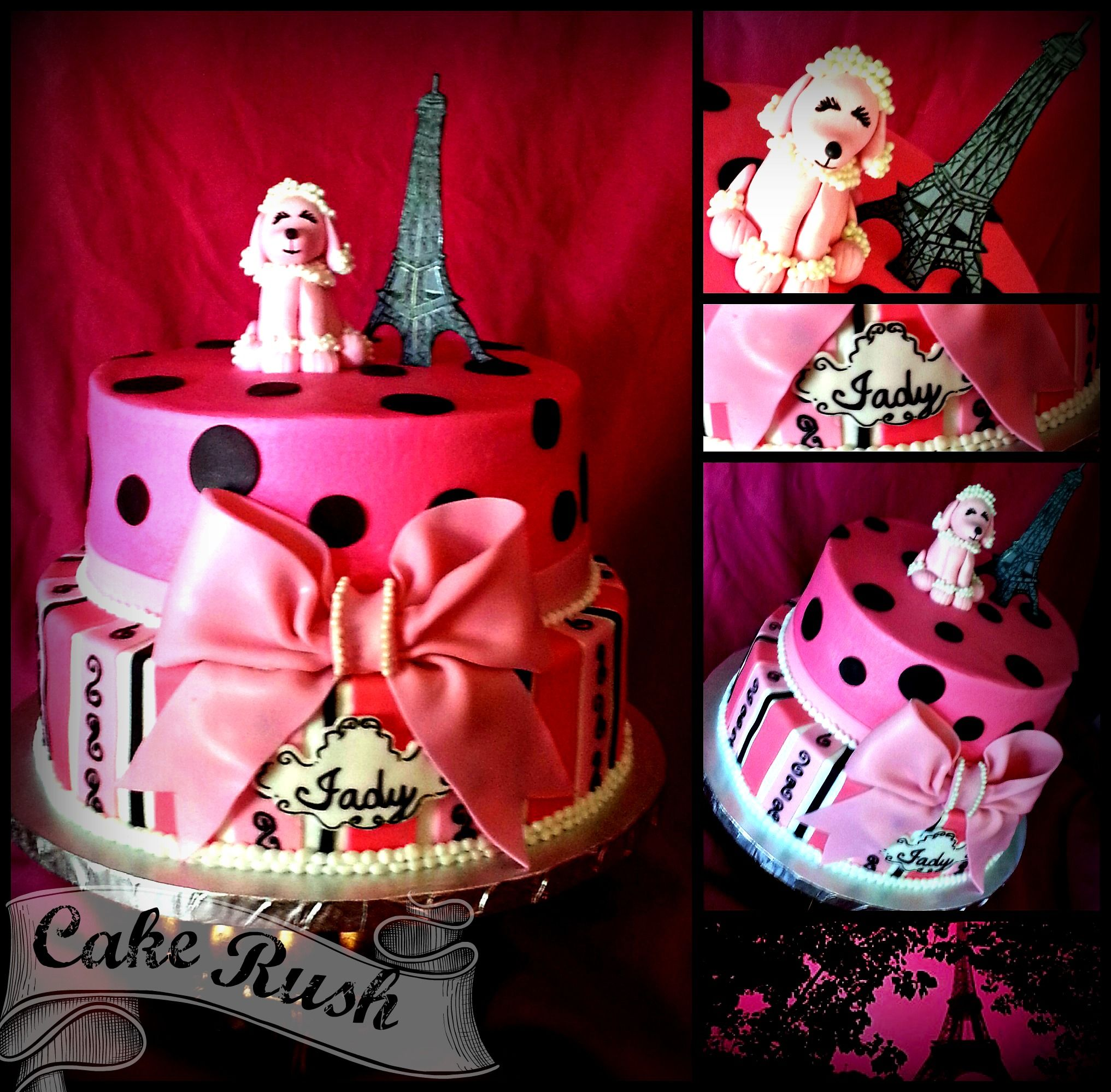 Paris Chic 2 tier cake with a cute pink poodle Eiffel tower
