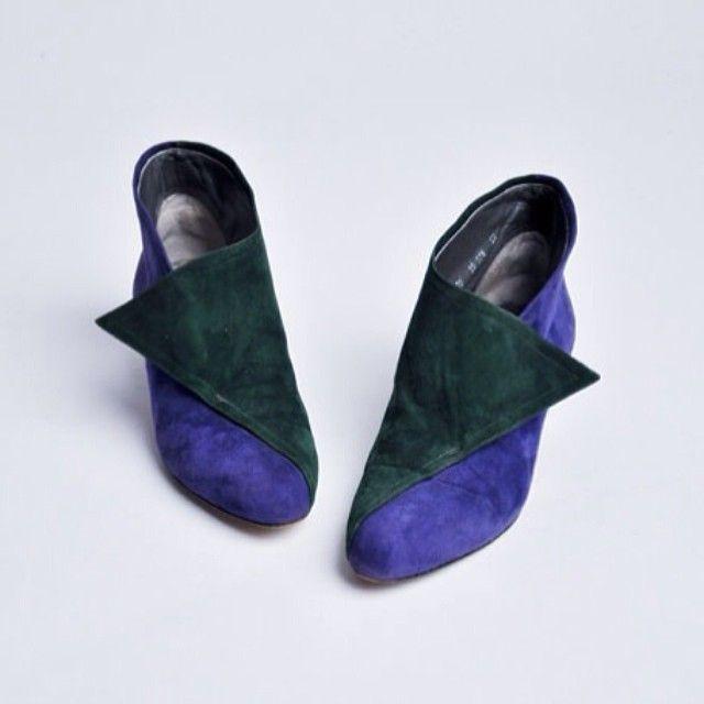 new. #vintage #80s #walterstieger #colorblock #ankleboots #suedeboots #etsy size 7.5