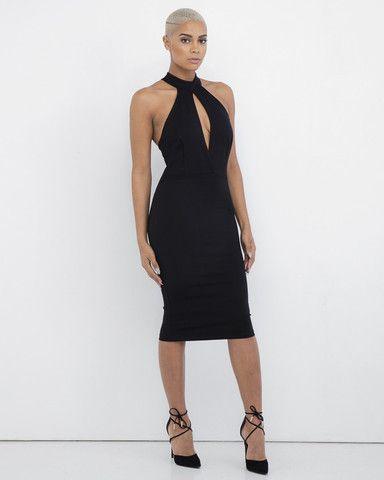 CORPO partito nero aderente Vestito longuette a FLYJANE |  Poco Keyhole vestito nero |  Little Black Dress |  LBD |  Nero Vestito aderente |  Vestito da cocktail di Capodanno