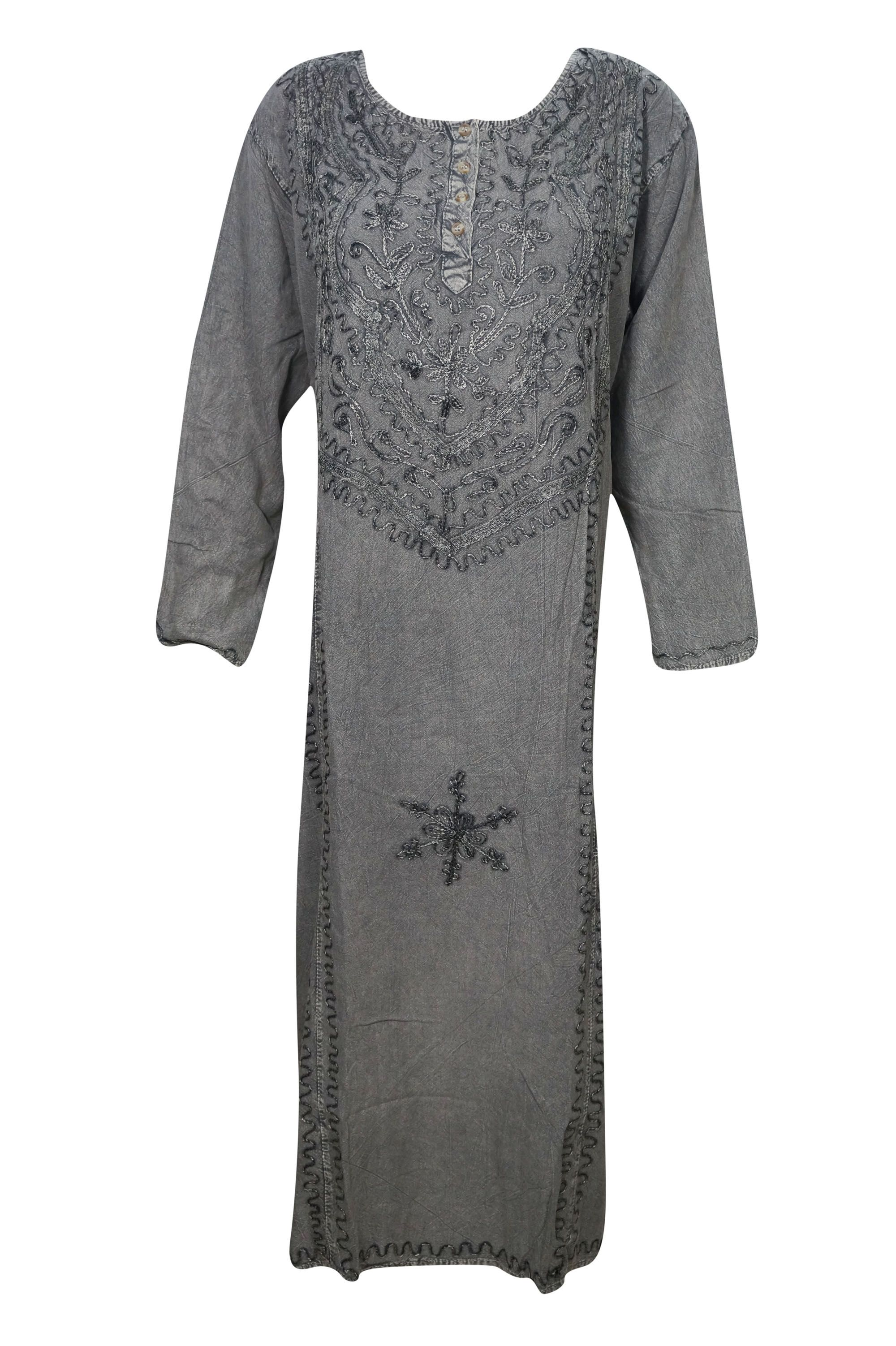5b136da67d0 Buy Mogul Womens Long Dress Embroidered Long Sleeves Enzyme Wash Rayon  Comfy Evening Ethnic Maxi Shift Dresses at Walmart.com