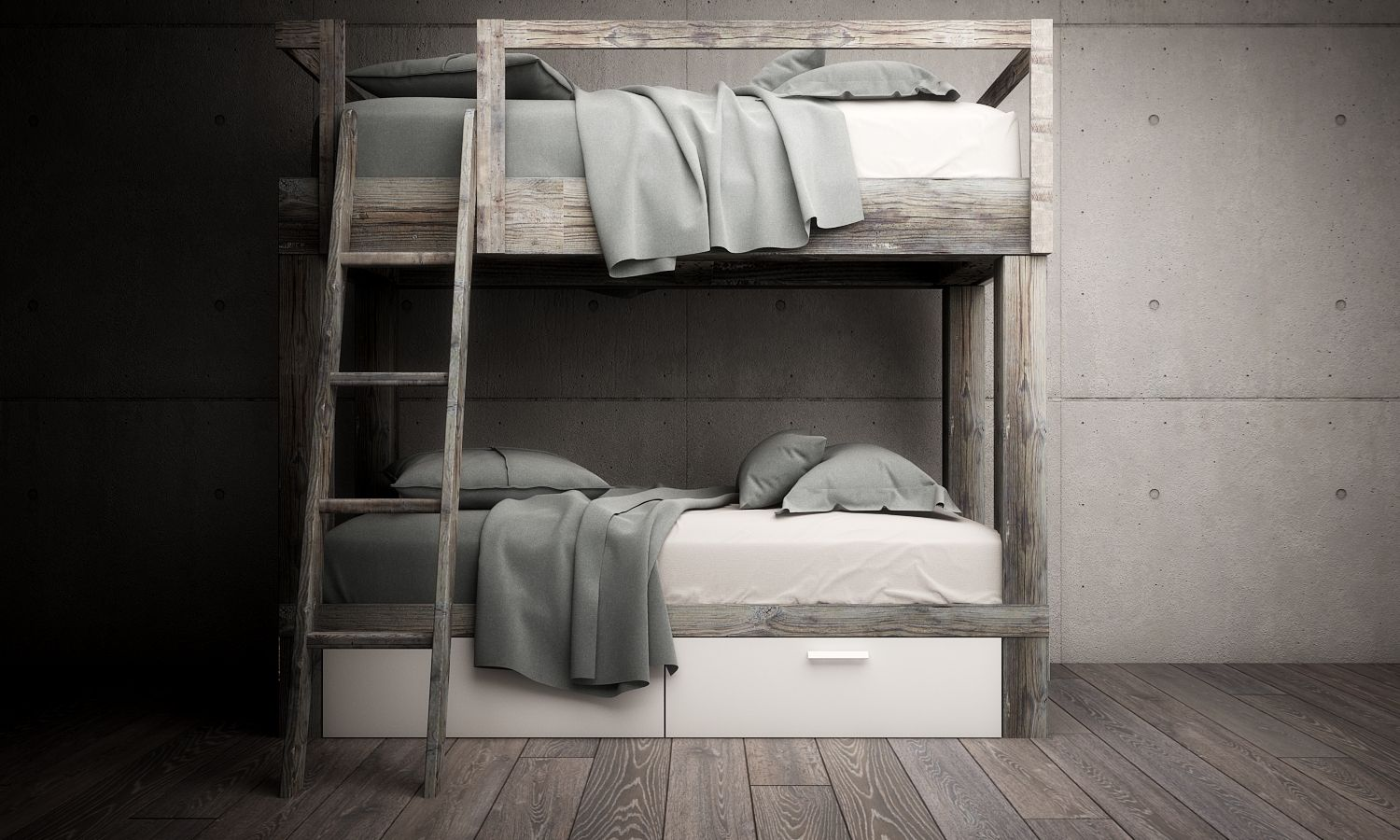 Bunk bed from old wood and white colour duc blanc furniture from