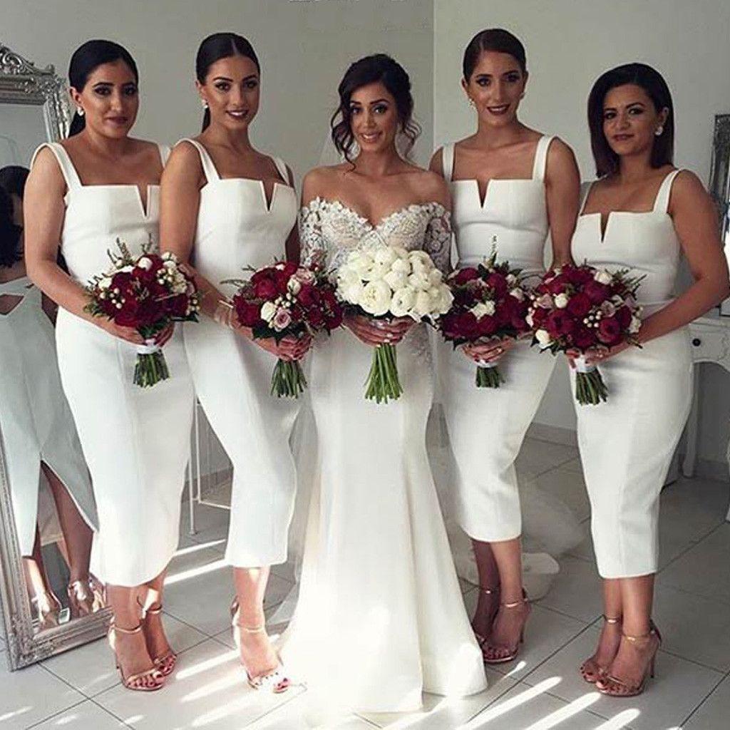 Simple off white wedding dresses  Simple Cheap Unique White Off Shoulder Straight V Neck Sexy Tea