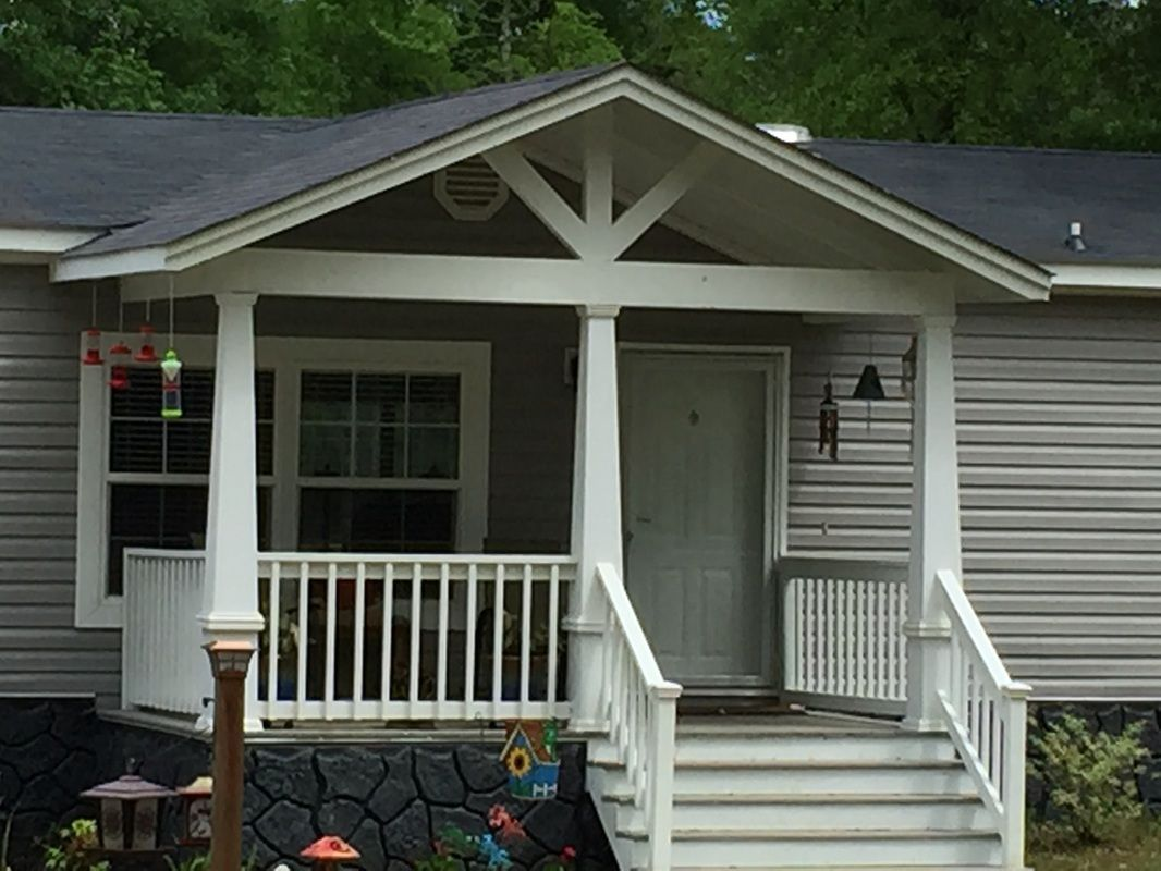 Adding A Gable Roof To An Existing Roof Ideas Black Budget Homes In 2020 Manufactured Home Porch Mobile Home Porch Porch Remodel