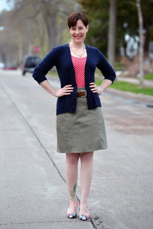 802d69eda5 Already Pretty outfit featuring navy cardigan, coral polka dot tank, olive  green pencil skirt, cognac leather belt, Faryl Robin Suzu pumps