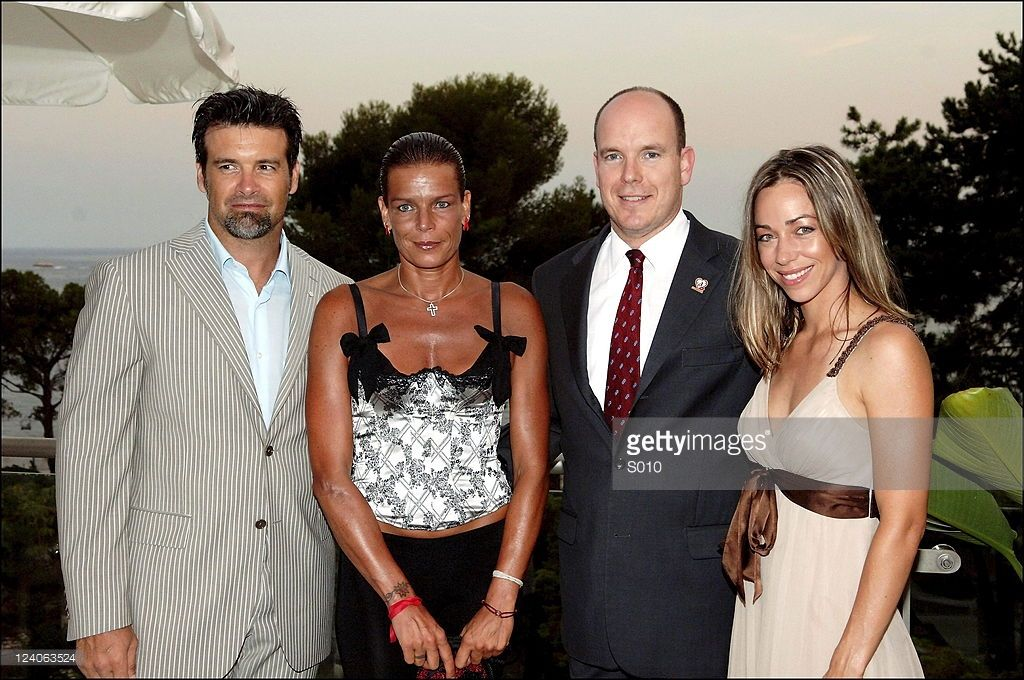 Monaco royals and celebrities attends fundraising party to benefit the 'Fight Aids Monaco' association in Monte Carlo, Monaco on July 21,2006- Prince Albert, Princess Stephanie, Canadian singer Roch Voisine and wife.