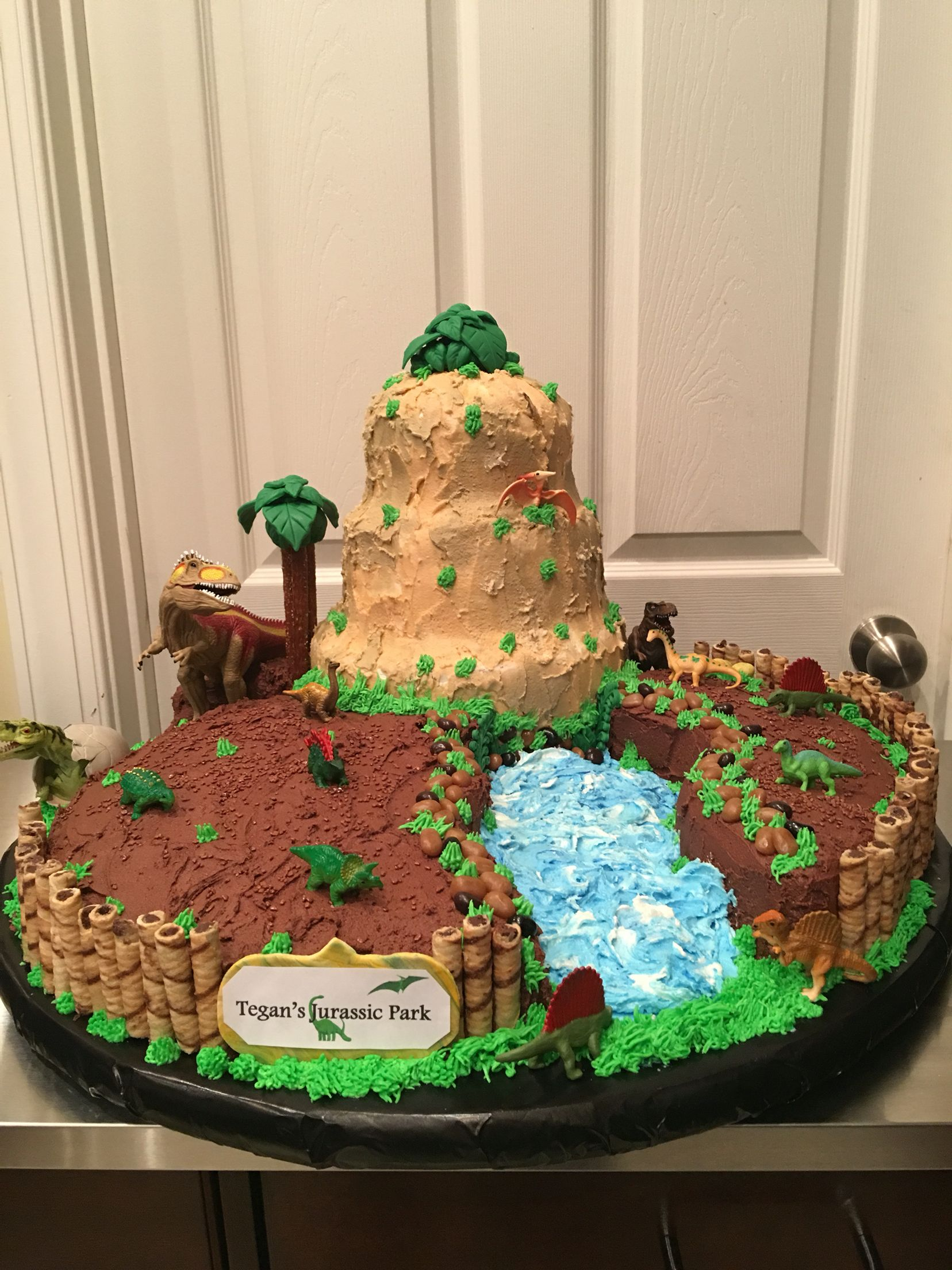 Dinosaur Themed Cake Mountain Is Three Tiered Chocolate