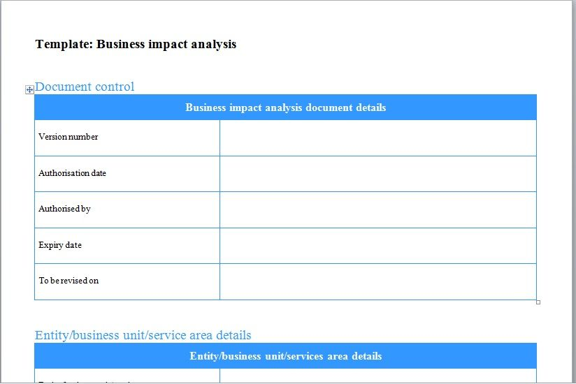 Business Analysis Template Business Impact Analysis Template