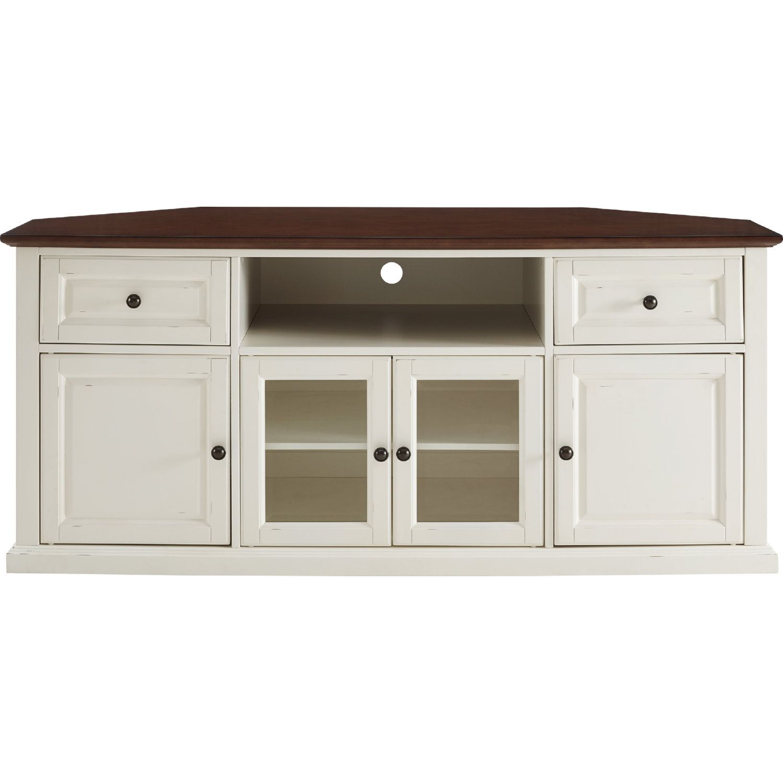 Crosley Cf1000260 Wh Shelby 60 Corner Tv Stand White W Mahogany Top Corner Tv Corner Tv Cabinets Flat Panel Tv