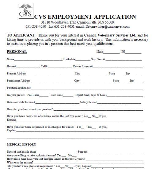 Cvs Pharmacy Job Application Form Pdf Barbie Outfits Job