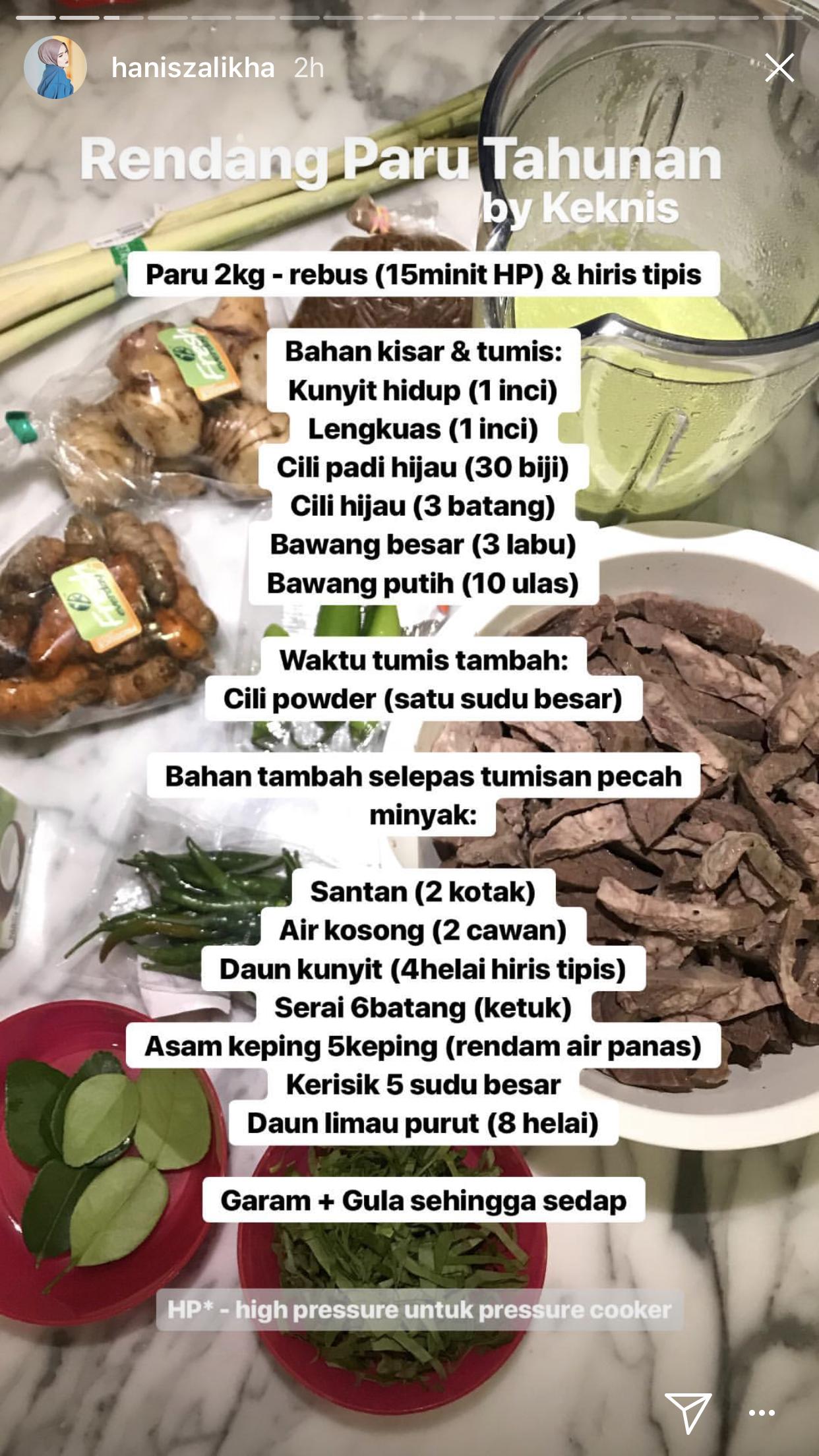 Keknis Rendang Paru Recipes Food Beef