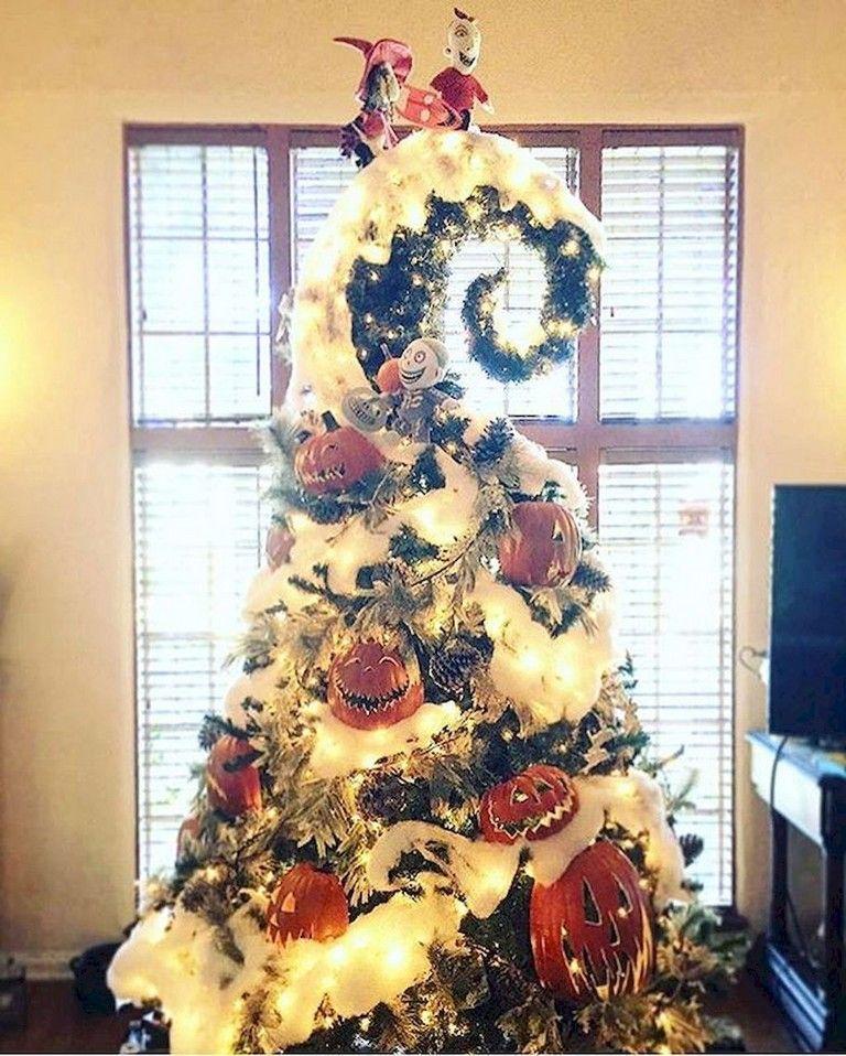 21 Lovely Christmas Tree Decoration Ideas Nightmare Before Christmas Decorations Halloween Christmas Tree Christmas Tree Themes
