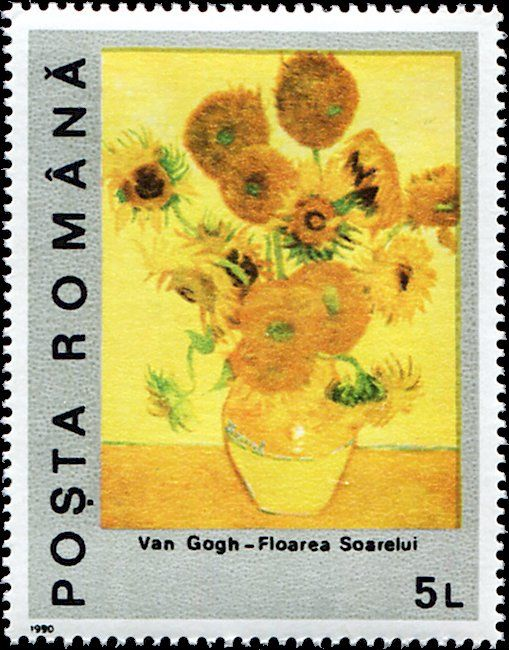 Stamp Vase With Fourteen Sunflowers Romania Centenary Of The