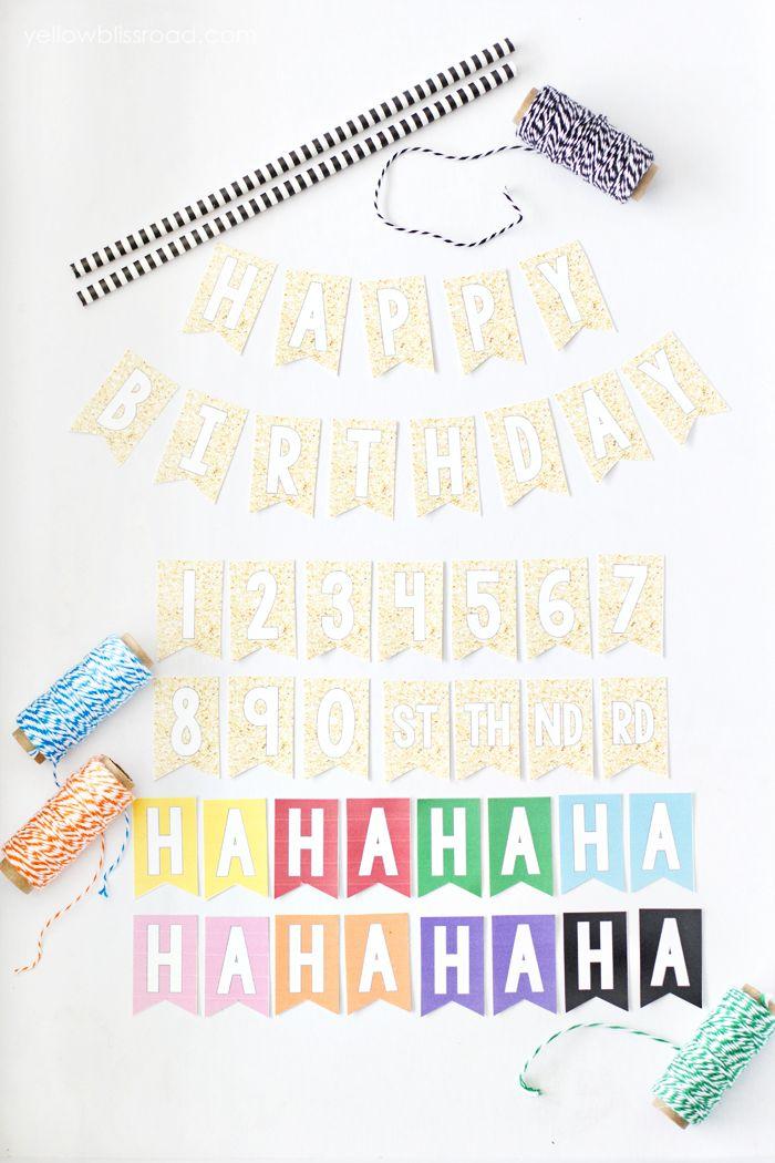 Free Printable Mini Birthday Bunting | Banderines de cumpleaños ...