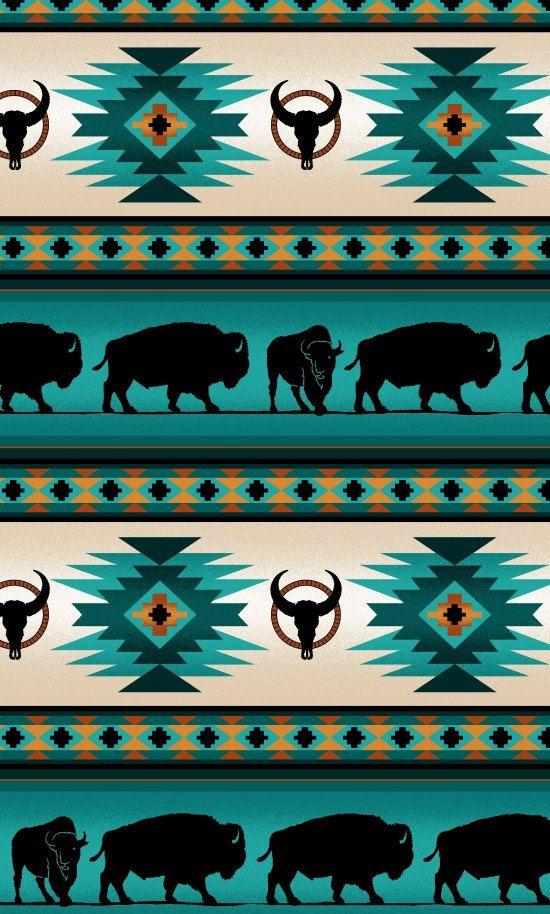Elizabeth Studios Native Pattern Buffalo Stripe Turquoise, 1 Yard