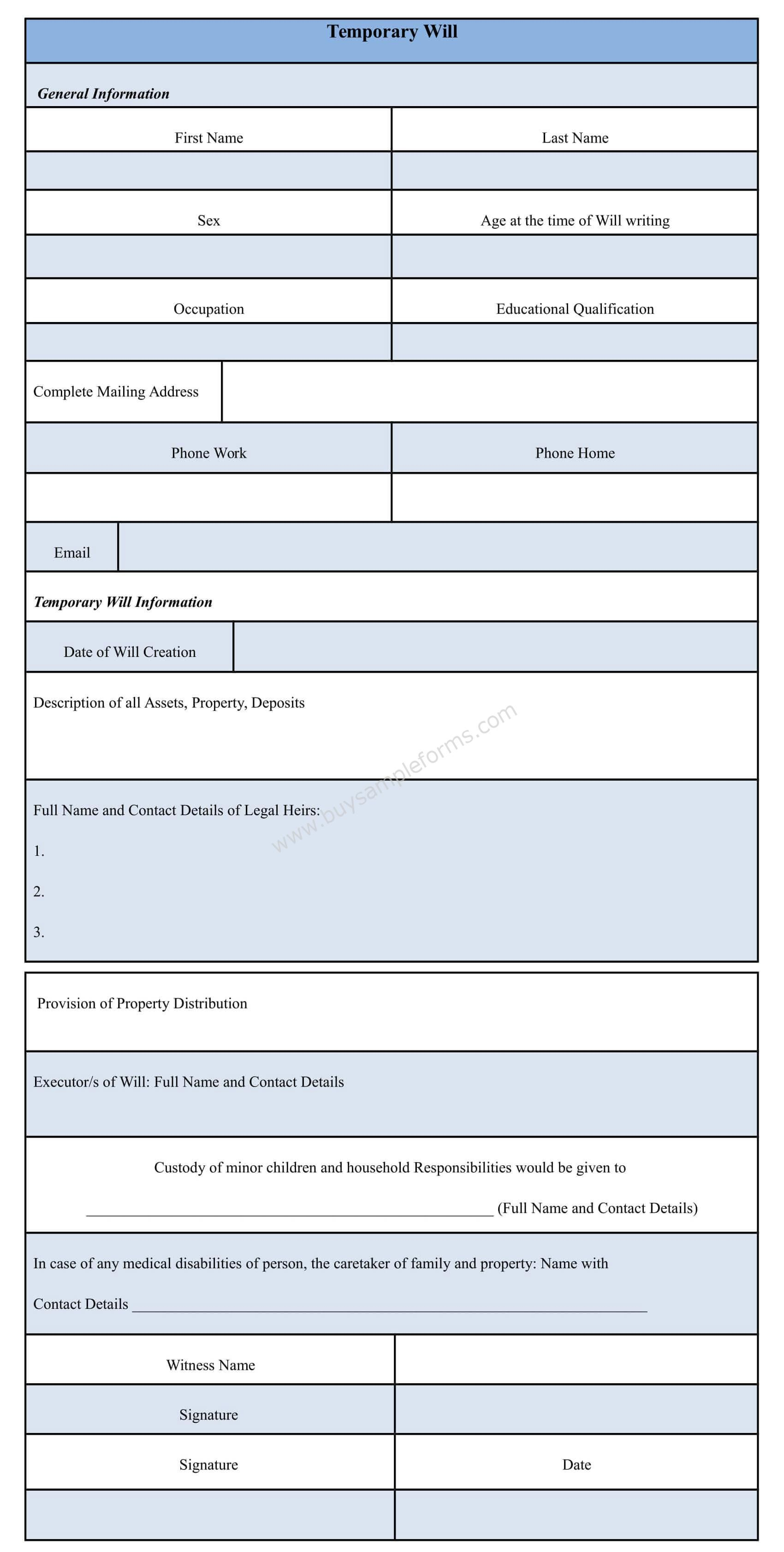 You can download the Temporary Will Form template. It is an easy ...