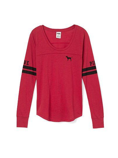 Long Sleeve Football Tee - PINK - Victoria's Secret | online ...