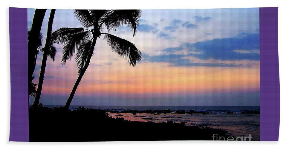 Silhouetted Palm Trees Against A Fabulously Colorful Pink Blue And Yellow Orange Hawaiian Sunset Afterglow Sky Reflecting In The Sea Where It Meets The Black Rocky Shoreline . Beach Sheet featuring the photograph Outrigger Beachside Sunset Afterglow Hawaii by Expressionistartstudio Priscilla-Batzell