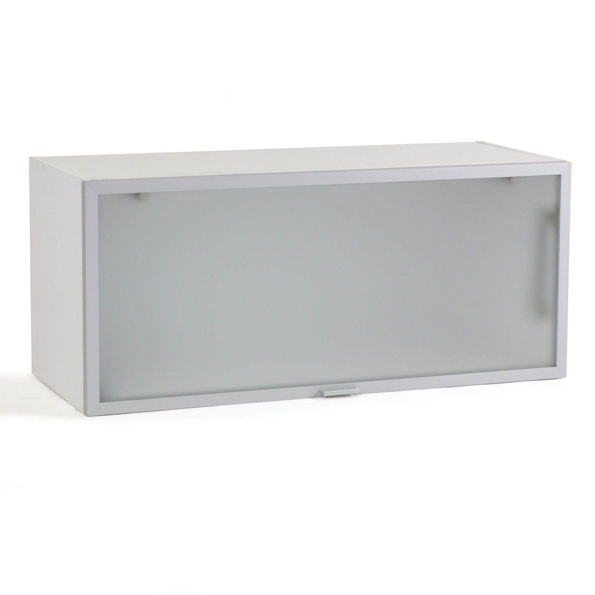 meuble de cuisine haut court porte relevante en verre 80cm alu