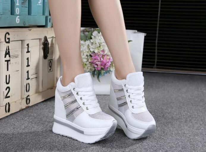 Fashion Womens Sport Casual High Top Sneakers Boots Hidden Heel Breath Shoes New