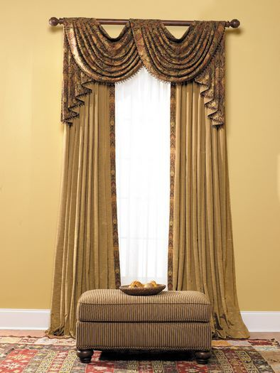 Luxury Orange Curtains Drapes And Window Treatments | Pinch Pleat Under  Swag And Jabots At FabricWorkroom