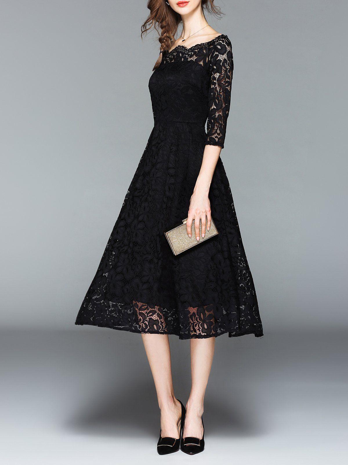 Stand Collar Elegant Guipure Lace 3 4 Sleeve Dress Black Lace Midi Dress Dresses Womens Midi Dresses [ 1600 x 1200 Pixel ]