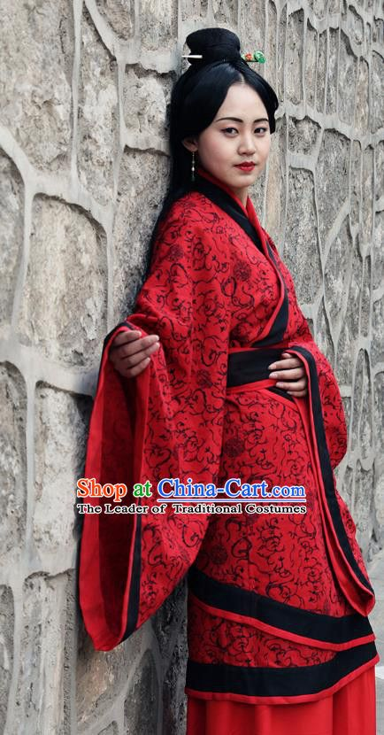 d62869a065 Traditional Oriental China Costume Palace Lady Red Curve Bottom Chinese  Hanfu Han Dynasty Princess Wedding Sc 1 St Pinterest